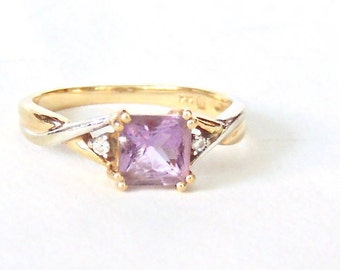 Sale! 14K Square Cut Amethyst Diamond Ring, Vintage, Yellow and White Gold
