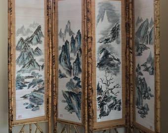 Bamboo Screen Room Divider 4 Panel Japanese Brown HandPainted Asian Artwork Handmade