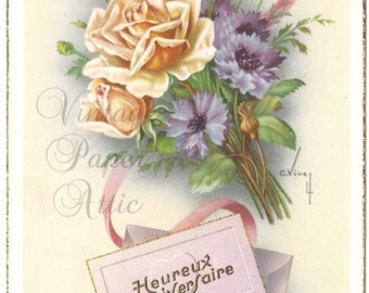 Vintage French Postcard Peach Roses & Flowers from Vintage Paper Attic