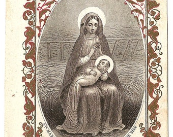Mary Mother of God & Baby Jesus Engraving Antique French Holy Prayer Card, Blessed Mother, Virgin Mary