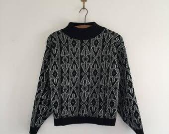 Vintage 80's Cropped Mock Turtleneck Sweater S M