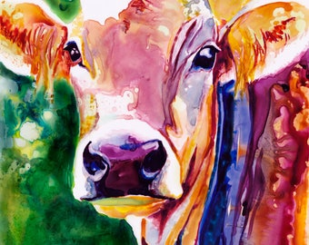 Cow Watercolor Fine Art Print on Paper, Metal, or Bamboo