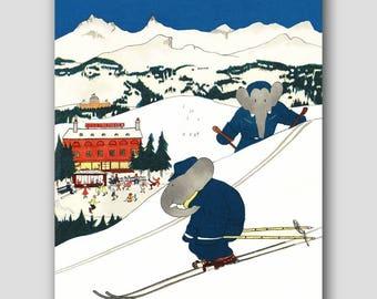 "Nursery Wall Decor (Girls Boys Room Prints, Baby Room Art) ""Down Hill Skiing"" -- Babar the Elephant"