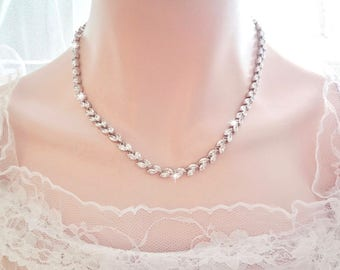 Brides necklace ~ AAA Cubic Zirconia's ~ Wedding Necklace ~ Marquise cut ~ Wedding jewelry ~ Bridal jewelry ~ Stunning ~LILLY