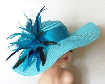 Peacock Feather Hat, Kentucky Derby Hat, Garden Party Hat or Victorian Tea Party