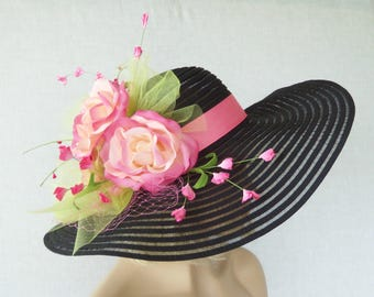 Ladies Black Hat - Black and Pink Hat - Kentucky Derby Hat, Garden Party Hat or Victorian Tea Party