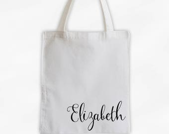Personalized Cotton Canvas Tote Bag with First Name in Script - Whimsical Custom Gift Reusable Shopping Bag  (3033)
