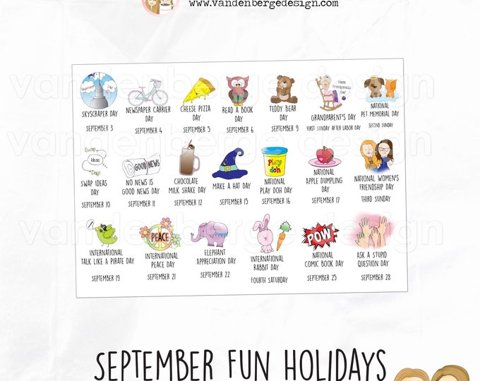 Planner Stickers - September Fun Holidays - Perfect for all planners! Wacky Holidays