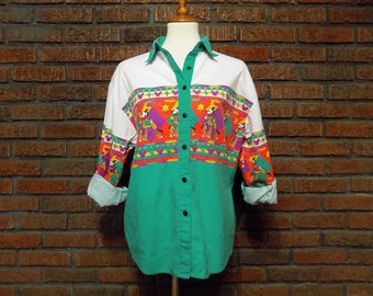 Vintage Mickey & Co. Western Style Button Up Shirt Women's L
