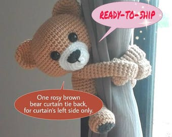 Ready-to-ship, one rosy brown bear curtain tie back, for curtain's left side only.