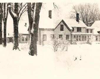 "Vintage Snapshot ""The Old Homestead"" Lovely Old Farmhouse In Winter Snow-Covered Trees Found Vernacular Photo"
