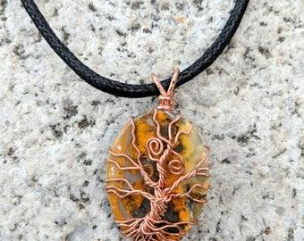 Copper Swirled Tree over Bumblebee Jasper