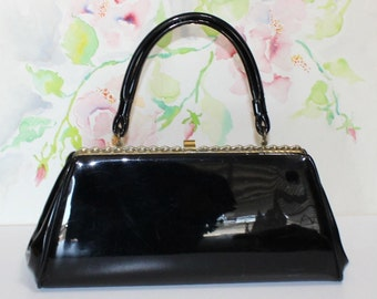 Pretty Vintage, Dover, Black Patent Leather Handbag, Purse