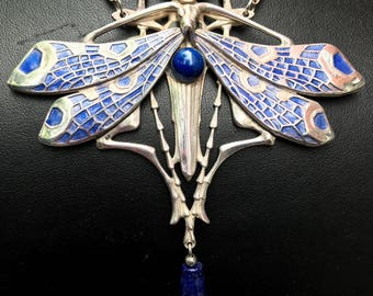 Dragonfly Necklace With Enamel and Lapis