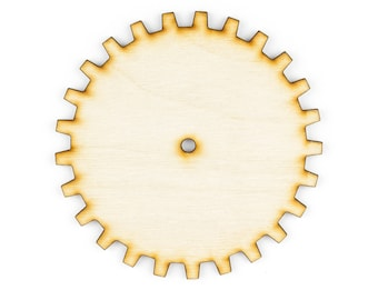 Plywood SteamPunk Gears, Craft Gears, Wood Gears, Laser Cut - 1qty - 4 Inch (10.16cm) - Solid Gear -