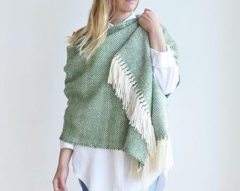Woven knit shawl blanket, Green Merino wool shawl and wrap, Fringe Man blanket scarf, Labor Day Shopping