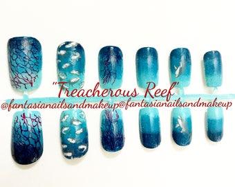 Shark nails, fake nails, fake press on- glue on nails, ocean-water-coral reef nails, shark week nails, deep sea- blood nails, fake nail set