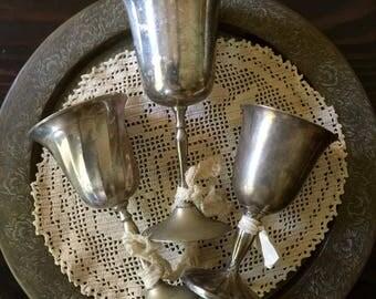 Vintage Silver Plated Wine Goblets Set of 3, Wedding Wine Goblets, Mix Match Silver Plated Goblets, Eclectic Wine Goblets