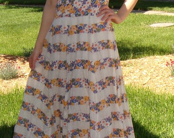 1950's does 1930's VINTAGE MAXI DRESS fit and flare long summer gown 30's 50's xs
