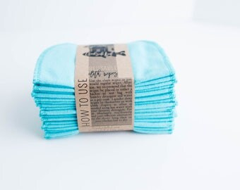 Reusable Baby Wipes Cloth Wipes Set of 20 Baby Wipes -  Sea Aqua  Reusable Flannel Wipes
