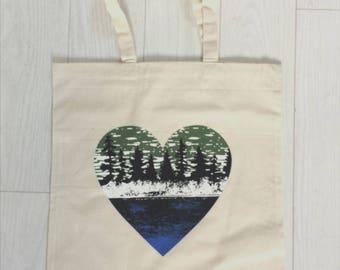 Tote Bag, Canvas Tote, Love Nature,  Market Bag, Outdoor Lover, Lake Life