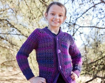 PDF Crochet PATTERN Angella Cardigan, Child Sizes