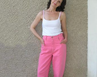 Vintage 80s high waisted watermelon jeans, size M