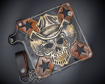 Handmade leather wallets belts bootstraps much more by for American outlaw tattoo