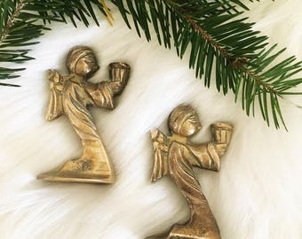 Miniature Brass Angel Candle Holders  / Christmas Candlestick Holders / Small Space Living