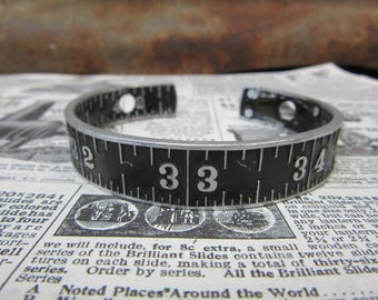 Antique Stanley Folding Ruler Bracelet Aluminum Metal Bangle Style Number Cuff Jewelry Industrial Black & Silver Numbers Steampunk Vintage