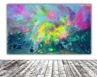"""ORIGINAL ABSTRACT ART - 20x12"""" - Fusion 14, Unique Original Fluid Abstract Painting Fine Art One of a Kind, Gift Wall Decor"""