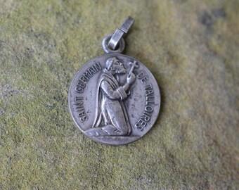 Vintage Catholic Gifts, Antique Patron Saints Medal, Saint Germain de Talloires and St. Benedict, Vintage Religious Medals