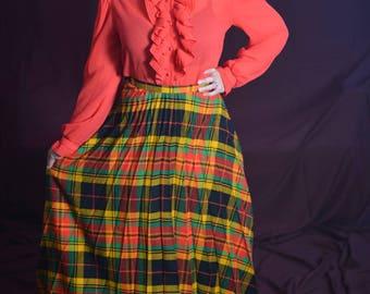 Ruffled Me Randy 1960s Vintage Rhonda Lee Tomato Red Ruffle Bust Sheer Secretary Blouse With Raised Collar Sz 10 / Medium