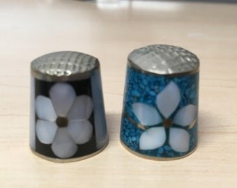 "Vintage 60's   ""PAIR of THIMBLES"" Mother of Pearl Styles"