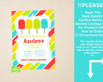 Ice Pops Party Invitation - Ice Pops Birthday Invite - Summer Birthday Invitation - Ice Pops Birthday Party - DIGITAL and PRINTED Available