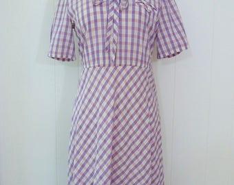 80's does 50's Sailor Dress Pink Purple Plaid Cotton Day Dress Puff Sleeve Anime Farm Feedsack Style Dress L