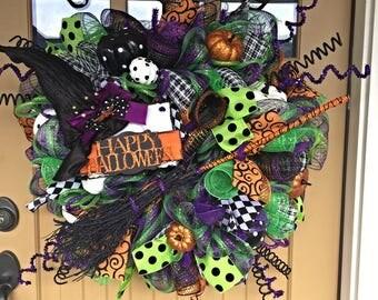 Halloween Witch Broom Wreath ~ Halloween Deco Mesh Wreath