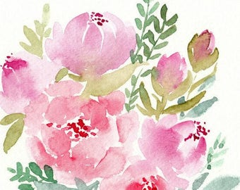 Pink Watercolor Florals, original watercolor painting, 5x7, flower painting, watercolor flowers, floral art, home decor, floral wedding art