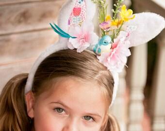 Bunny Ear Headband- Easter Bunny Ear Headband- Bunny Ears- Easter Headband- Couture Headband- Easter Basket Gift - Bunny Ears for girls