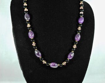Purple and Black Bauble and Bead Necklace