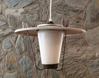 Mid-century modern lantern style pendant light with grey iron shade and white etched glass. 50s industrial light. Factory lantern.