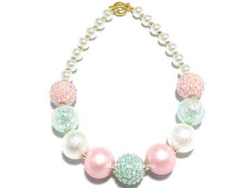 Toddler or Girls Pink, Mint and White Chunky Necklace - Mint Green Chunky Necklace - Pastel Necklace - Pale Pink Necklace - Easter Pink