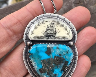 Reserved! Turquoise Necklace. Scrimshaw Two stone pendant. Tall Ship. Sterling silver. Tattoo style necklace. Morenci turquoise. Ship at Sea