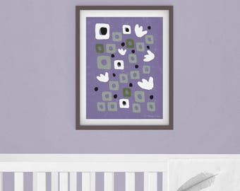 Lavender - Tiny Tulips and Dots with Squares | Instant Download Printable Art, Digital Download, Abstract Art, Wall Art