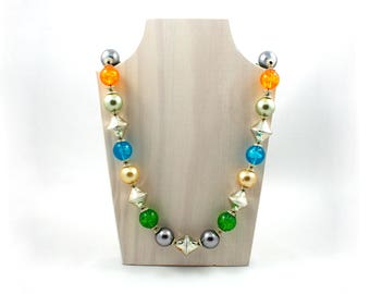 """Vintage midcentury chunky lucite bubble bead necklace, long 32"""" inch, bicone silver beads, blue, green, orange, gold, purple, round cone"""