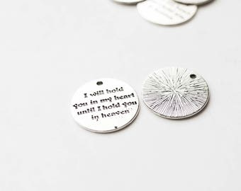 100 Message Tags - Antique Silver - WHOLESALE -  I Will Hold You In My Heart Until I Hold You In Heaven - 25mm - Ships IMMEDIATELY  -SC1381c