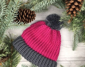 Raspberry knitted hat, knit accessories, chunky knit hat, gifts for women, stylish winter hat, pink toque, beanie hat, pink bobble hat,
