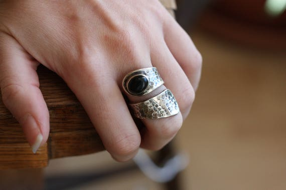 ADJUSTABLE ONYX RING - Black Onyx - 925 Ring - Sterling Silver Ring - Tigers eye - Gemstone - Gift - Vintage Ring - Oxidised Ring - Bespoke