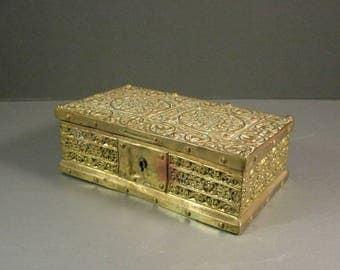 Antique Erhard and Sohne Brass Casket Box Reliquary Treasury