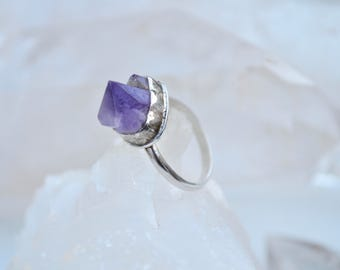 Amethyst Nugget Crystal Cluster / Sterling Silver Stack Gemstone Ring